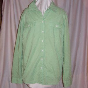 Soft Green Nubby Cotton Roll Tab Shirt Top Blouse